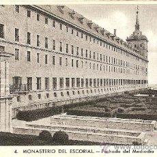 Postales: MONASTERIO DEL ESCORIAL - FACHADA DEL MEDIODIA - L.ROISIN FOT. Nº 4. Lote 30958931