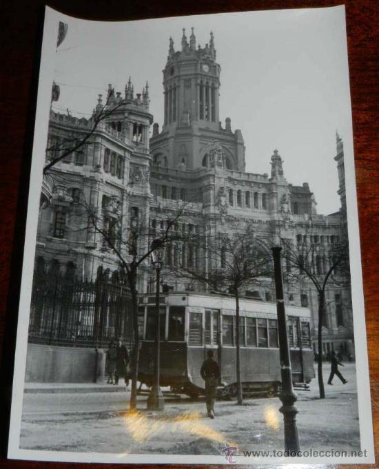 Antigua fotografia de madrid tranvia y edifici comprar for Correo comunidad de madrid