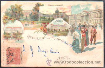 TARJETA POSTAL DE MADRID - RECUERDO DE MADRID. KUNZLI. 396. SELLO DE EL PELON (Postales - España - Comunidad de Madrid Antigua (hasta 1939))