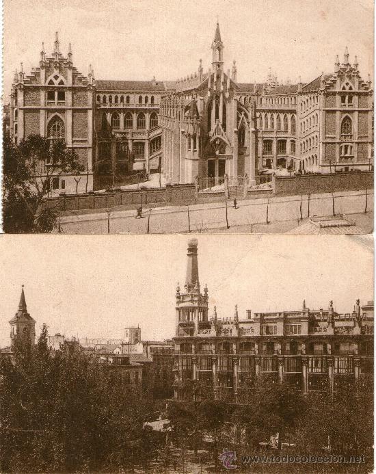 LOTE 4 POSTALES MADRID COLEGIO DEL PILAR PLAZA PRÍNCIPE ALFONSO MONUMENTO CAJAL CALLE ALCALÁ (Postales - España - Comunidad de Madrid Antigua (hasta 1939))