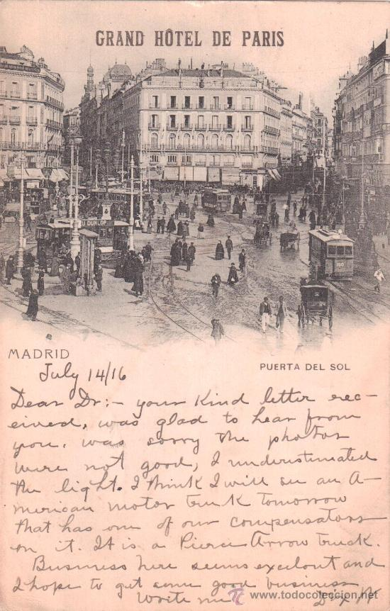 Postal de madrid grand hotel de paris puerta comprar for Hotel paris en madrid puerta del sol
