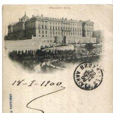 Postales: PALACIO REAL MADRID, HAUSER Y MENET CIRCULADA AÑO 1900. Lote 33870887