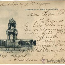 Postales: MONUMENTO A ISABEL LA CATOLICA, MADRID, HAUSER Y MENET 22 CIRCULADA AÑO 1900, SELLO PELON. Lote 33871037