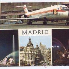 Postales: POSTAL MADRID - AEROPUERTO BARAJAS, FUENTE NEPTUNO, CALLE ALCALÁ Y CIBELES - 1969. Lote 33967822