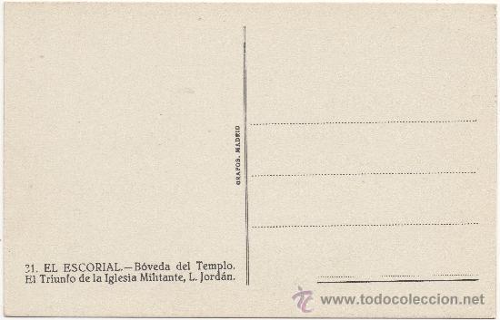 Postales: EL ESCORIAL.- BÓVEDA DEL TEMPLO. EL TRIUNFO DE LA IGLESIA MILITANTE, L. JORDÁN. - Foto 2 - 35475292