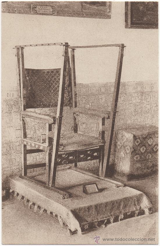 EL ESCORIAL.- SILLA GESTATORIA DE FELIPE II. (Postales - España - Comunidad de Madrid Antigua (hasta 1939))