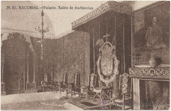 EL ESCORIAL.- PALACIO. SALÓN DE AUDIENCIAS. (Postales - España - Comunidad de Madrid Antigua (hasta 1939))