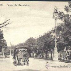 Postales: MADRID.- PASEO DE RECOLETOS ( AÑO 1915 APROX). Lote 35512120