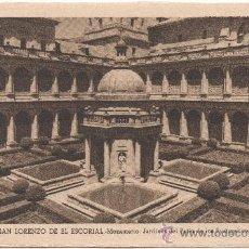 Postales: SAN LORENZO DE EL ESCORIAL.- MONASTERIO. JARDINES DEL PATIO DE LOS EVANGELISTAS.. Lote 35555335