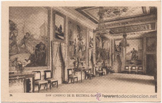 SAN LORENZO DE EL ESCORIAL.- SALÓN DE EMBAJADORES. (Postales - España - Comunidad de Madrid Antigua (hasta 1939))