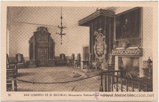 SAN LORENZO DE EL ESCORIAL.- MONASTERIO. HABITACIONES DE FELIPE II. SALÓN DEL TRONO. (Postales - España - Comunidad de Madrid Antigua (hasta 1939))
