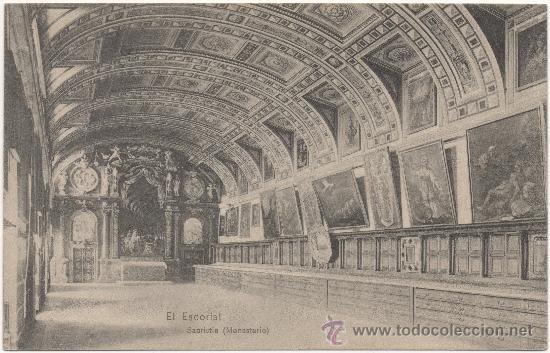 EL ESCORIAL.- SACRISTÍA (MONASTERIO). (Postales - España - Comunidad de Madrid Antigua (hasta 1939))