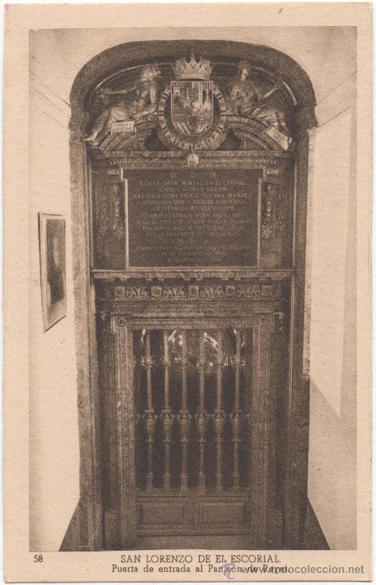 SAN LORENZO DE EL ESCORIAL.- PUERTA DE ENTRADA AL PANTEÓN DE REYES. (Postales - España - Comunidad de Madrid Antigua (hasta 1939))