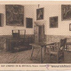 Postales: SAN LORENZO DE EL ESCORIAL.- PALACIO. ANTESALA DEL TRONO Y SILLA DE FELIPE II.. Lote 35588356