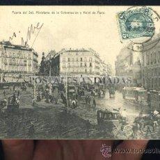 Postales: (A01150) MADRID - PUERTA DEL SOL, MINISTERIO DE LA GOBERNACION Y HOTEL DE PARIS - MADRID POSTAL SN. Lote 35701766