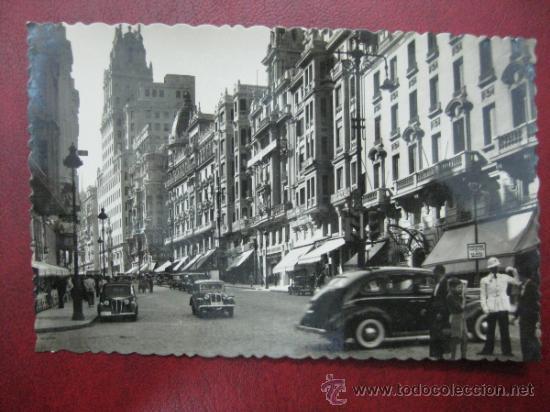 MADRID - AVENIDA DE JOSE ANTONIO - POSTAL FOTOGRAFICA (Postales - España - Comunidad de Madrid Antigua (hasta 1939))