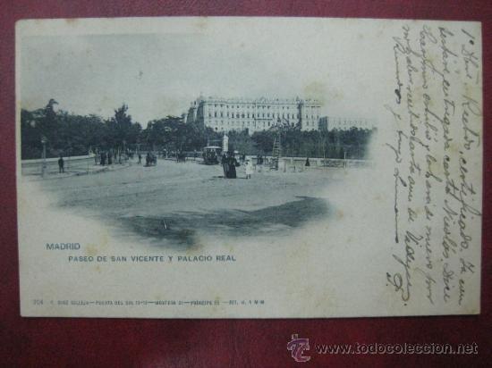 MADRID - PASEO DE SAN VICENTE Y PALACIO REAL (Postales - España - Comunidad de Madrid Antigua (hasta 1939))