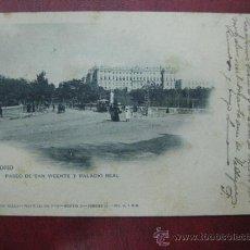 Postales: MADRID - PASEO DE SAN VICENTE Y PALACIO REAL. Lote 36006149
