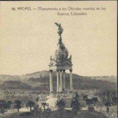 Postales: MADRID.- MONUMENTO A LOS OFICIALES MUERTOS EN LAS GUERRAS COLONIALES. Lote 36157328
