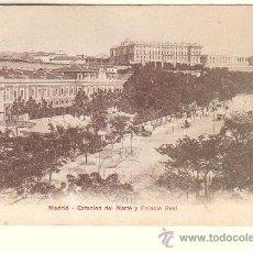 Postales: MADRID.- ESTACIÓN DEL NORTE Y PALACIO REAL. Lote 36424395