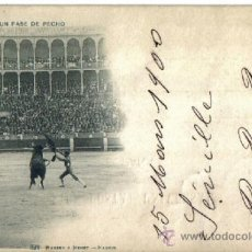 Postales: POSTAL DE TOROS, HAUSER Y MENET Nº 323 MADRID. CIRCULADA DESDE SEVILLA, PELON 1900 UN PASE DE PECHO,. Lote 36656310