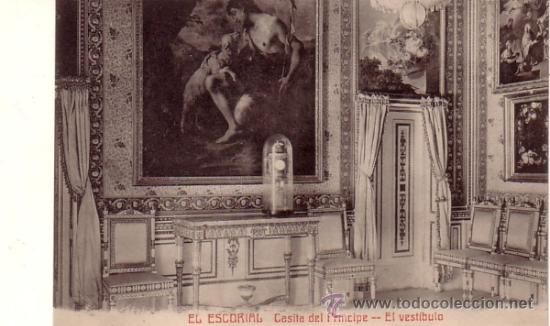 MONASTERIO DE EL ESCORIAL (MADRID) - CASITA DEL PRINCIPE - VESTIBULO - CASTAÑEIRA Y ALVAREZ (Postales - España - Comunidad de Madrid Antigua (hasta 1939))