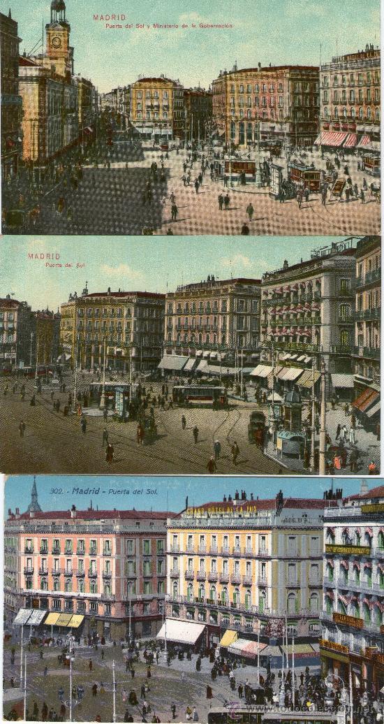 TRES POSTALES PUERTA DEL SOL MADRID COLOR ANIMADAS (C. 1910). (Postales - España - Comunidad de Madrid Antigua (hasta 1939))