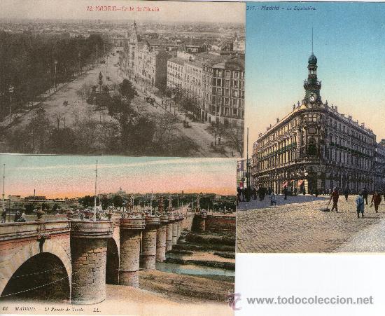 TRES POSTALES MADRID PUENTE TOLEDO. LA EQUITATIVA Y CALLE ALCALA 1913 (Postales - España - Comunidad de Madrid Antigua (hasta 1939))