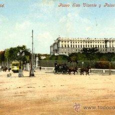 Postales: MADRID. PASEO DE SAN VICENTE Y PALACIO REAL. Lote 39238728