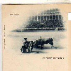 Postales: MADRID CORRIDA DE TOROS UN QUITE. 128 HAUSER Y MENET. REVERSO 1 EDITADA EN 1897 SIN CIRCULAR.. Lote 39618398