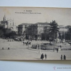 Postales: POSTAL. MADRID. PLAZA DE NEPTUNO Y MUSEO DEL PRADO. Nº 9. FOT. HAUSER Y MENET. NO CIRCULADA.. Lote 40684403