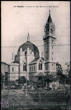 POSTAL MADRID IGLESIA DE SAN MANUEL Y SAN BENITO . LACOSTE CA AÑO 1910. (Postales - España - Comunidad de Madrid Antigua (hasta 1939))