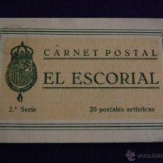 Postales: ALBUM DE 20 POSTALES ARTISTICAS. CARNET POSTAL EL ESCORIAL. 2ª SERIE. MADRID. Lote 42028886
