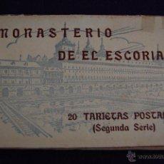 Postales: ALBUM 20 TARJETAS POSTALES. SEGUNDA SERIE. MONASTERIO DE EL ESCORIAL. HAUSER Y MENET- MADRID. Lote 42029262