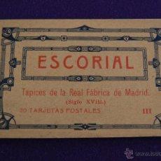 Postales: ALBUM 20 POSTALES. ESCORIAL. TAPICES DE LA REAL FABRICA DE MADRID. III. FOTOTIPIA HAUSER Y MENET.. Lote 42030390