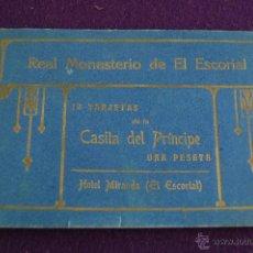 Postales: ALBUM DE 10 POSTALES DE LA CASITA DEL PRINCIPE.REAL MONASTERIO DE EL ESCORIAL.HOTEL MIRANDA. MADRID. Lote 42030742