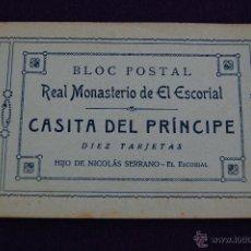 Postales: BLOC POSTAL. REAL MONASTERIO DE EL ESCORIAL. CASITA DEL PRINCIPE. 10 POSTALES. MADRID. Lote 42031204