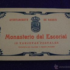 Postales: ALBUM 10 TARJETAS POSTALES. AYUNTAMIENTO DE MADRID. MONASTERIO DEL ESCORIAL. FOTO HAUSER Y MENET. Lote 42031613