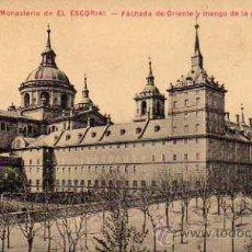 Postales: REAL MONASTERIO DE EL ESCORIAL FACHADA DE ORIENTE Y MANGO DE LA PARRILLA MORA Y HERMANO SIN CIRCULAR. Lote 42235270