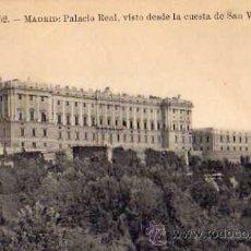 Postales: PALACIO REAL VISTO DESDE LA CUESTA DE SAN VICENTE Nº 52 ESCRITA CIRCULADA SELLO. Lote 42348059