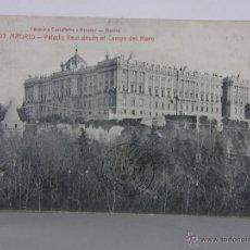 Postales: POSTAL CIRCULADA 1913 593 MADRID PALACIO REAL DESDE EL CAMPO DEL MORO FOTOTIPIA CASTAÑEIRA Y ALVAREZ. Lote 42951616