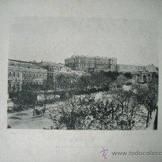 Postales: LAMINA FOTO HAUSER Y MENET 1891, MADRID ESTACION DEL NORTE Y PALACIO REAL. Lote 43043363