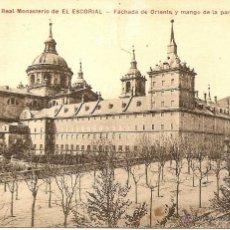 Postales: REAL MONASTERIO DE EL ESCORIAL - FACHADA DE ORIENTE Y MANGO DE LA PARRILLA - CIRCULADA 1921. Lote 43105187