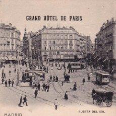 Postales: MADRID – PUERTA DEL SOL – GRAND HOTEL DE PARIS. HAUSER Y MENET. Lote 43185121