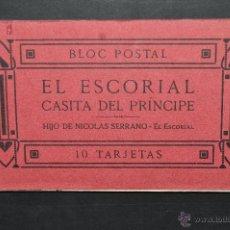 Postales: ALBUM POSTAL RECUERDO DEL ESCORIAL. MADRID. CASITA DEL PRINCIPE. FOTPIA. J. ROIG. 10 POSTALES. Lote 43507197