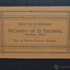 Postales: ALBUM POSTAL RECUERDO DEL ESCORIAL. MADRID. 1ª SERIE. FOTPIA. J. ROIG. 20 POSTALES. Lote 43507325