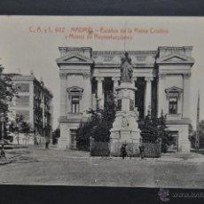 Postales: ANTIGUA POSTAL DE MADRID. ESTATUA DE REINA CRISTINA Y MUSEO DE REPRODUCCIONES. FOTPIA. CASTAÑEIRA. Lote 44332318