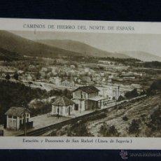 Postales: POSTAL SIN CIRCULAR ESTACIÓN Y PANORAMA DE SAN RAFAEL LINEA DE SEGOVIA CAMINOS HIERRO NORTE ESPAÑA . Lote 44686930