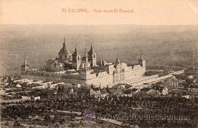 ANTIGUA POSTAL - EL ESCORIAL MONASTERIO - DESDE EL ROMERAL - ED. NICOLAS SERRANO - NUEVA (Postales - España - Madrid Moderna (desde 1940))