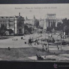 Postales: ANTIGUA POSTAL DE MADRID. PLAZA DE CASTELAR Y CALLE DE ALCALA. SIN CIRCULAR. Lote 44891427